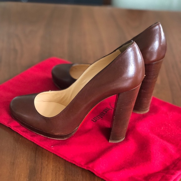 6acc0c84336 Brown Leather Louboutins - chunky heel - size 36.5